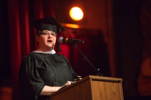 Alice Teisan delivering Commencement Speech